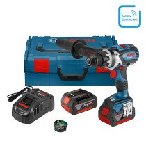 Bosch GSR 18V-85 C + GCY 30-4 18V Drill/Driver with Connection Module and 2x 5.0Ah Batteries in L-Boxx