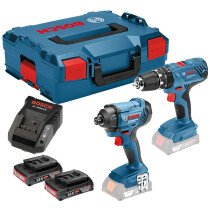 Bosch GSB 18 V-21 Combi Drill + GDR 18 V-160 18V Impact Driver Twinpack with 2x2.0Ah Batteries Batteries in L-Boxx