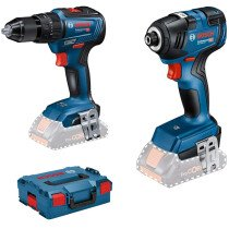 Bosch GSB18V-55 + GDR18V-200 18v Body Only Brushless Twin Pack in L-Boxx