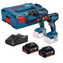 Bosch GSB 18V-55 Combi Drill + GDX 18V-200 Impact Wrench / Driver BRUSHLESS Twin Kit with (2x4.0Ah) In L-Boxx