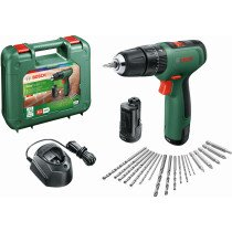 Bosch EasyImpact 1200 12v Combi Drill (2x1.5Ah) with Screwdriver Bit and Drill Set In Case
