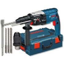 Bosch GBH2-28F 2kg 880W 3-Function SDS+ Hammer Drill with Vibration Control & QC Chuck, Chisel and 3pc Drill Set  in L-Boxx