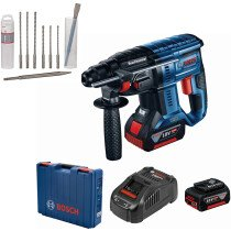 Bosch GBH 18 V-21 18v BRUSHLESS SDS-Plus Hammer 2x4Ah Batteries in Case with 8pc SDS+ Chisel and Drill Bit Set