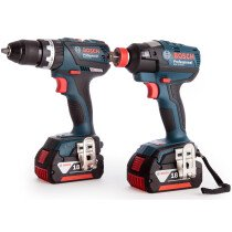 Bosch GSB18 V-60C + GDX18 V-200C 18V Brushless Combi Drill With Impact Wrench/Driver 2x 5.0Ah Batteries in L-BOXX