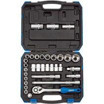 "Draper 16363 HD33AM 1/2"" Drive Metric/Imperial AF Combined Socket Set (33 Piece)"