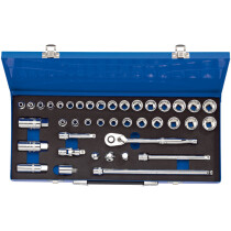 "Draper 16477 D40M/MC 3/8"" Drive Combined Metric/AF Socket Set In Metal Case (40 Piece)"