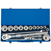"Draper 16486 MC17M/B 3/4"" Sq. Dr. Metric Socket Set in Metal Case (17 Piece)"