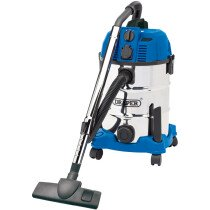 Draper 20529 WDV30SSPA 30L Wet and Dry Vacuum Cleaner with Stainless Steel Tank and Integrated 230V Power Socket (1600w)