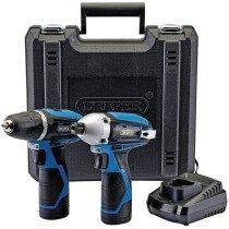 Draper Storm Force TP108VLI 10.8Volt Li-Ion Cordless Twinkit with 2 Batteries