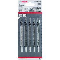 Bosch 2608663868 (T308BO) Jigsaw Blade Pack of 5 Extra Clean For Softwood T 308 BO