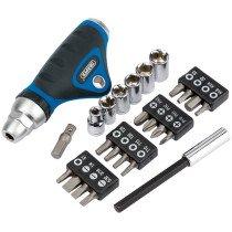 Draper 31150 Ratcheting Screwdriver, Socket and Bit Set 25 Piece