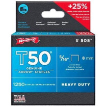 """Arrow A50524 T50 8mm (5/16"""") Steel Staples (Pack of 1,250)"""
