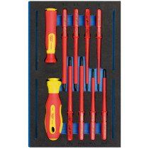 Draper 63359 IT-EVA12 Vde Ergo Plus Screwdriver Set In 1/4 Drawer Eva Insert Tray (10 Piece)