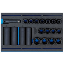 "Draper 63487 IT-EVA21 1/2"" Sq. Dr. Impact Socket Set In 1/4 Drawer Eva Insert Tray (20 Piece)"