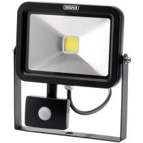 Draper 66037 WMCL20W/PIR/B 20W COB LED Wall Mounted Flood Light with PIR Sensor