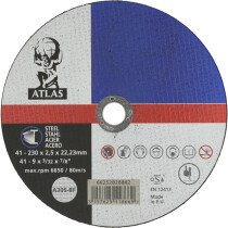 "Atlas 66252828882 Flat Metal Cutting Disc 230mm x 2.5mm (9"") A30S-BF"