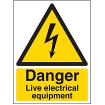 Lawson-HIS XY2152-S Danger Live Electrical Equipment Self Adhesive Sign 200 x 300mm