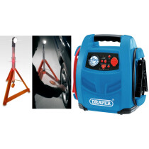 Draper 70553 JS800 12V Jump Starter + JSP LMV130-000-000 Multi-Function Roadside Rescue Wand, Light & Safety Triangle
