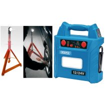 Draper 70554 JS3000 12V/24V Jump Starter (1500 - 3000A) + JSP LMV130-000-000 Multi-Function Roadside Rescue Wand, Light & Safety Triangle