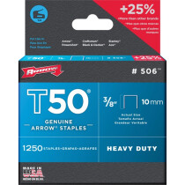 """Arrow A50624 T50 10mm (3/8"""") Steel Staples (Pack of 1,250)"""
