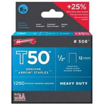 """Arrow A50824 T50 12mm (1/2"""") Steel Staples (Pack of 1,250)"""