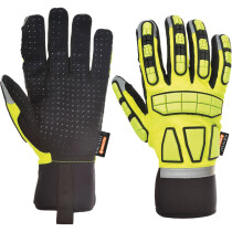 Portwest A724 Safety Impact Glove Unlined Anti-Impact - Yellow with Reflective Trim