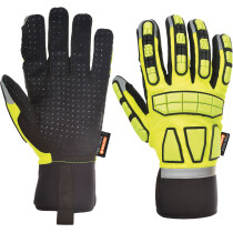 Portwest A725 Safety Impact Glove Lined Anti-Impact - Yellow with Reflective Trim