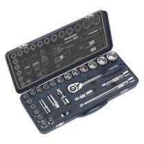 """Sealey AK27482 Socket Set 26pc 1/2""""Sq Drive Lock-On™ 6pt Metric"""