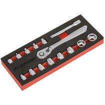 """Sealey AK5783 Low Profile Socket Set 15 Piece 1/4""""Sq Drive Metric"""