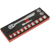 """Sealey AK5785 Low Profile Socket Set 14 Piece 3/8""""Sq Drive Metric"""