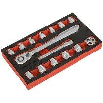 """Sealey AK5787 Low Profile Socket Set 15 Piece 1/2""""Sq Drive Metric"""
