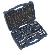"""Sealey AK8992 Socket Set 26pc 1/2""""Sq Drive 6pt WallDrive Metric"""
