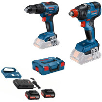 Bosch GSB 18 V - 55 Combi Drill + GDX 18 V-200 Impact Wrench  18V Brushless Twin Pack in L-Boxx with 2 x GBA 18 V 2.0 Ah Battery + Wireless Charger