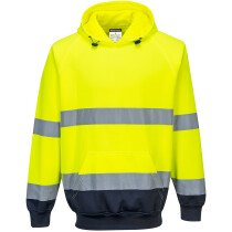Portwest B316 Two-Tone Hooded Sweatshirt High Visibility - Available in Orange/Navy or Yellow/Navy