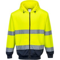 Portwest B317 Hi-Vis Two-Tone Zip Front Hoodie High Visibility - Available in Yellow or Orange