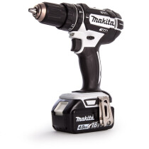 Makita DHP482RTWJ 18V White Combi Drill with 2x 5.0Ah Batteries in Makpac Case