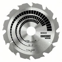 Bosch 2608641201 190x20/16mm 12T Circular saw blade (wood with nails)