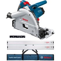 Bosch GKT55GCE KIT 160mm 1400W Plunge Saw with 2x1.6m Guide Rails, Connector & Bag