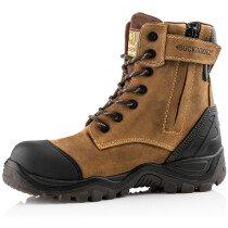 Buckbootz BSH008WPNM Buckshot 2 Brown Leather S3 High Lace/Leg Zipper Boot Non Metallic HRO WRU SRC