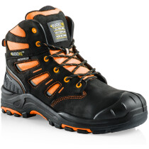 Buckler Boots BVIZ2 Buckz Viz Black Leather/Hi-Viz Cordura S3 Non Metallic Hiker Safety Boot