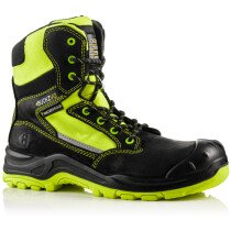 Buckbootz BVIZ1 Buckz Viz Black or Brown Leather/Hi-Viz Cordura S3 Non Metallic Lace/Zipper Safety Boot