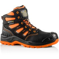 Buckbootz BVIZ2 Buckz Viz Black or Brown Leather/Hi-Viz Cordura S3 Non Metallic Hiker Safety Boot