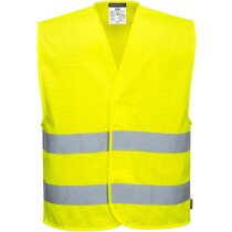 Portwest C374 MeshAir Hi-Vis Two Band Vest - High Visibility - Available in Yellow or Orange