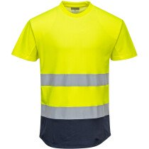 Portwest C395 Hi-Vis Two-Tone Mesh T-Shirt - High Visibility - Available in Yellow/Navy or Orange/Navy