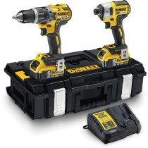 DeWalt DCK266P2-GB Combi Drill and Impact Driver XR 18V Brushless Kit with 2 x 5.0Ah Batteries in Tough System Case