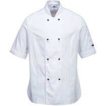 Portwest C737 Rachel Ladies Short Sleeve Chefs Jacket - Available in Black or White