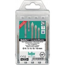 Heller 249423 Quickbit Ceramic Master Glass and Tile Brill Bit Set 5 Piece (4mm - 10mm)
