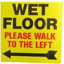 JSP Lamba CLJA043 'Wet Floor Left' Safety Message Label 21cm For Lock-In Sign Holder