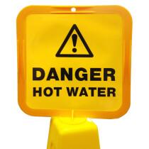 JSP Lamba CLOFF1240 'Danger Hot Water' Safety Message Label 21cm For Lock-In Sign Holder