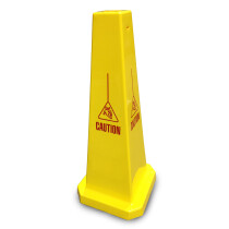 "JSP CLOFF950 Yellow 35"" Safety Cone 'Caution with fallen man' Slotted Type"